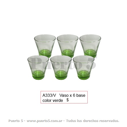 "VASAO X 6 BASE COLOR ""VERDE"""