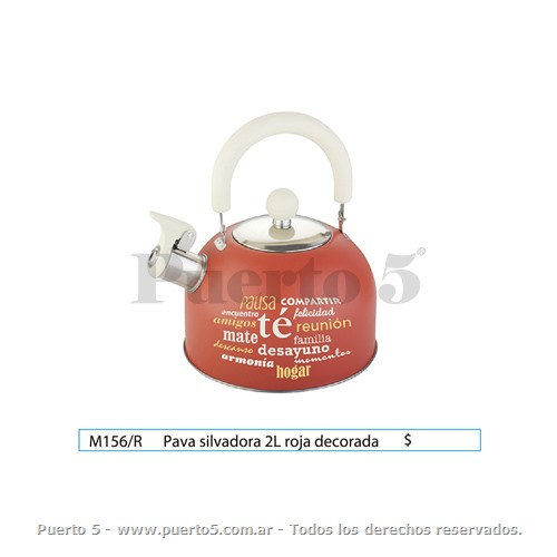 PAVA 2L DECORADA COLOR ROJA